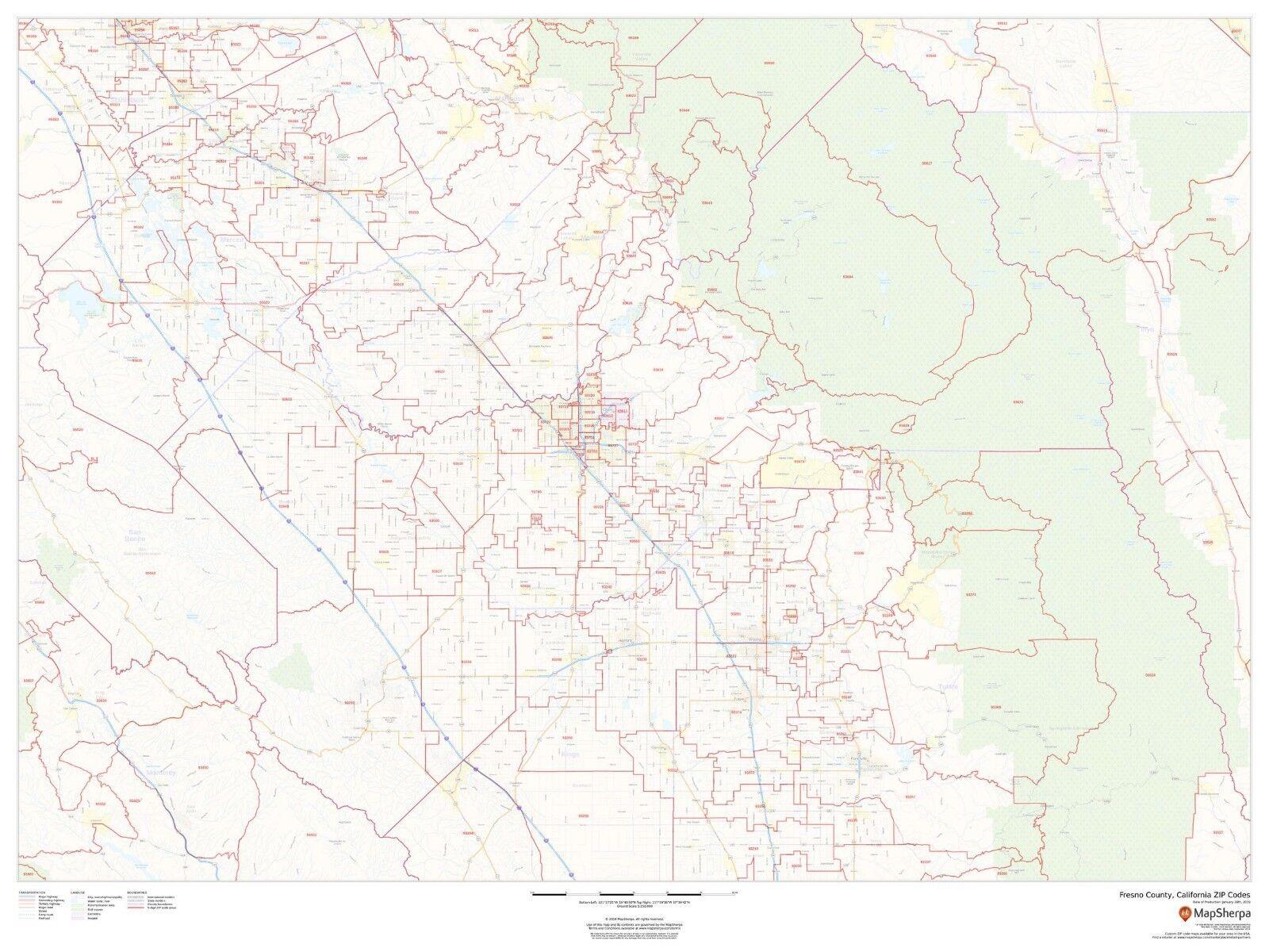 Fresno County, California ZIP Codes Laminated Wall Map (MSH)   eBay