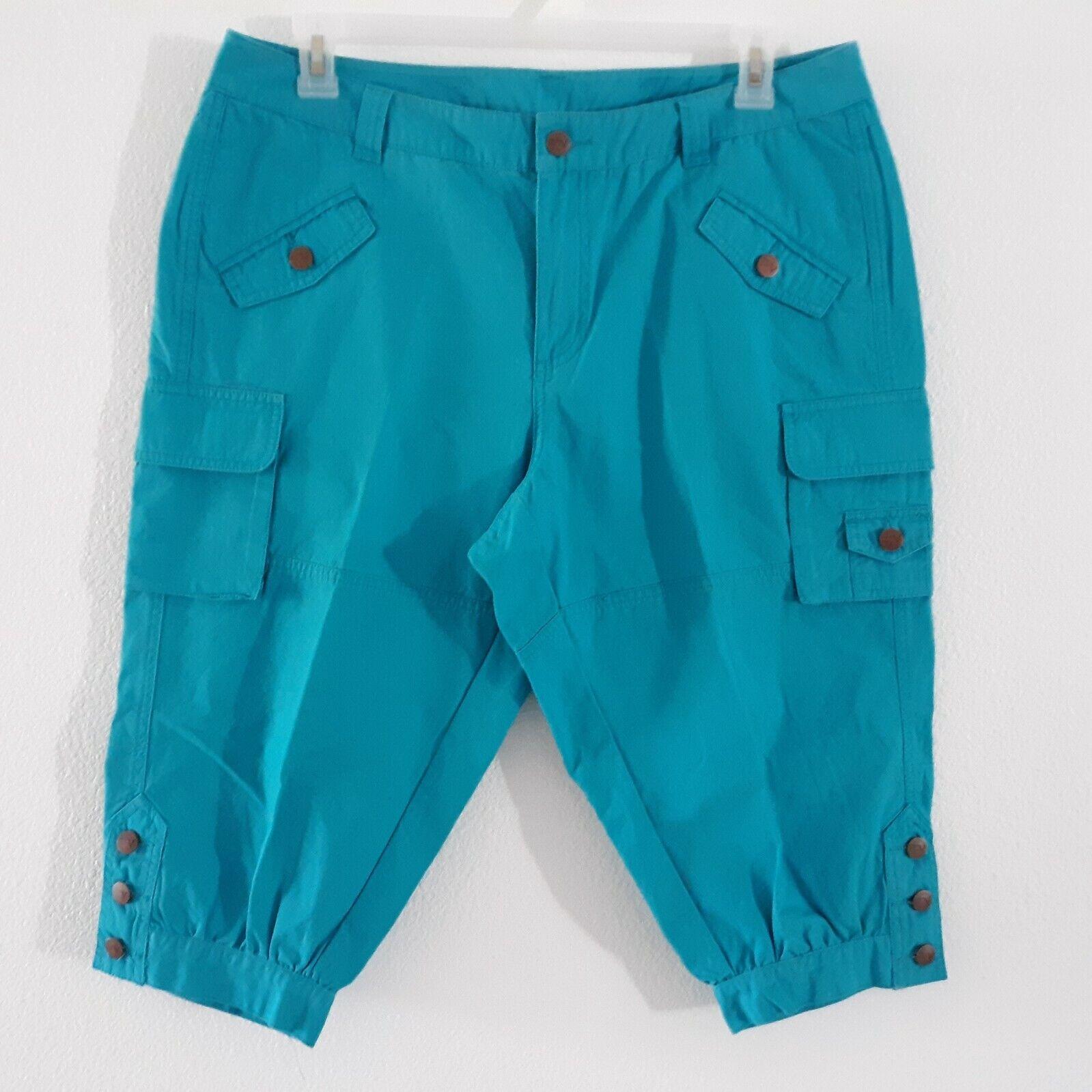 Venezia Turquoise Blue Cargo Capri Pants Women's … - image 1