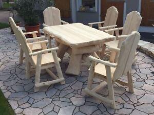 Rustikale Gartenmöbel Holz Massiv Sitzgruppe Tisch Stühle Stuhl