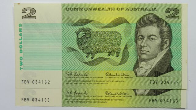 1966 Two Dollars Coombs / Wilson Consecutive Pair of Banknotes