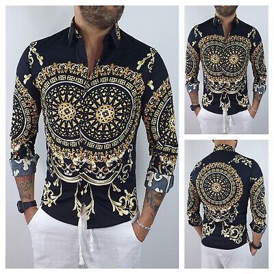 Camicia uomo sartoriale Cotone Elastico Slim fit barocco Casual nero S M L XL