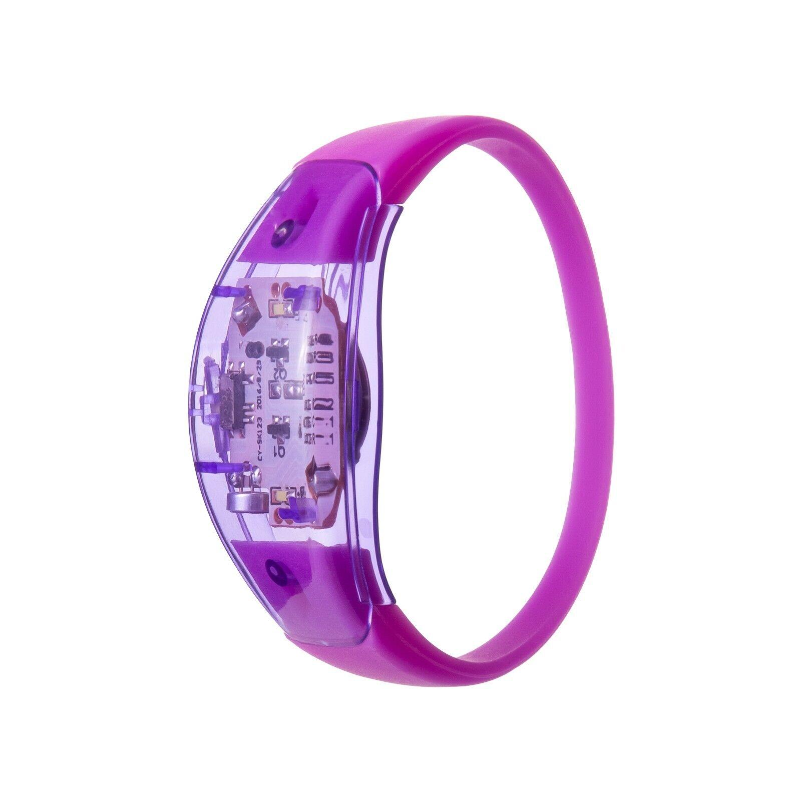 96 Viola Suono Attivato LED Bracciali Light Up lampeggiante Fascia di controllo vocale UK