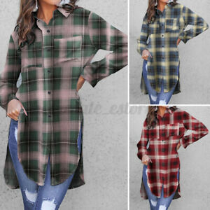 Womens-Long-Sleeve-Retro-Check-Plaid-Shirt-Casual-Holiday-Tunic-Tops-Blouse-NEW