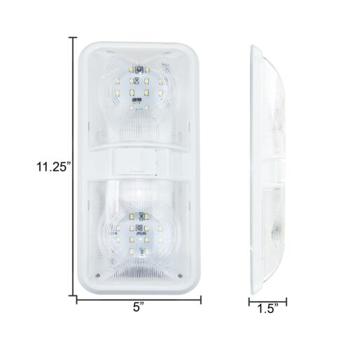 5 NEW RV LED 12v CEILING FIXTURE DOUBLE DOME LIGHT FOR CAMPER TRAILER RV MARINE