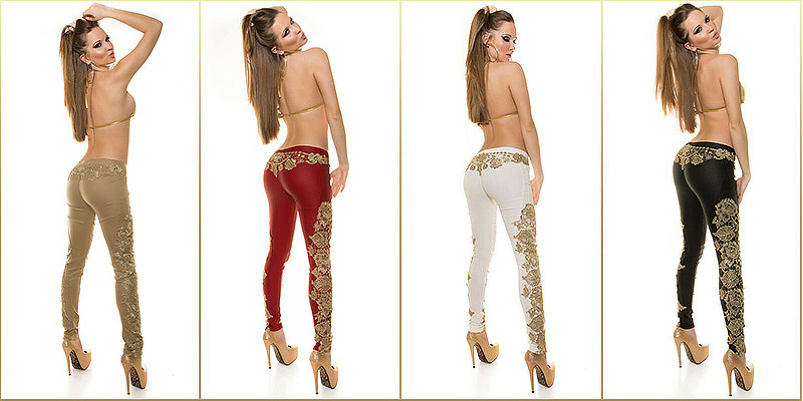 Sexy Koucla faux lether look trousers with embroidery 4 colors size S,M,L,XL