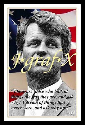 KENNEDY REALLY COOL ARTWORK! Bobby RFK PORTRAIT POSTER ROBERT F US FLAG