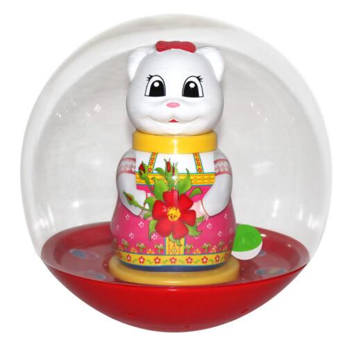NEU PET Badekugel Stehaufmännchen Katze 20cm Kugel LED und Musik Неваляшка Шар