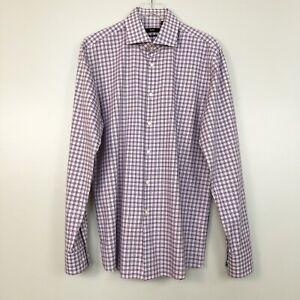 Hugo-Boss-Mens-Shirt-White-Purple-Plaid-Button-Sharp-Fit-Long-Sleeve-17-36-37