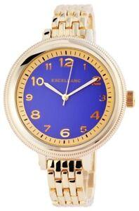 Excellanc-Damenuhr-Blau-Gold-Analog-Arabische-Ziffern-Metall-Quarz-X151003000003