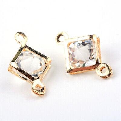 100pcs Rhombus Light Gold Iron Glass Links Jewelry Findings 19x12x8mm Hole 1.5mm