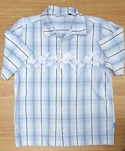 """O'NEILL Mens Short Sleeve Sky Blue Check Floral Summer Light Shirt 42"""" Chest"""