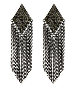 db5cbb598 CLIP ON EARRINGS - gunmetal earring with crystals and chain fringe ...