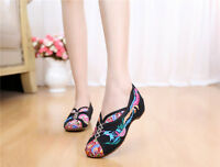Vintage Canvas Phoenix embroidered Soft Old Beijing dance singles Flats Shoes