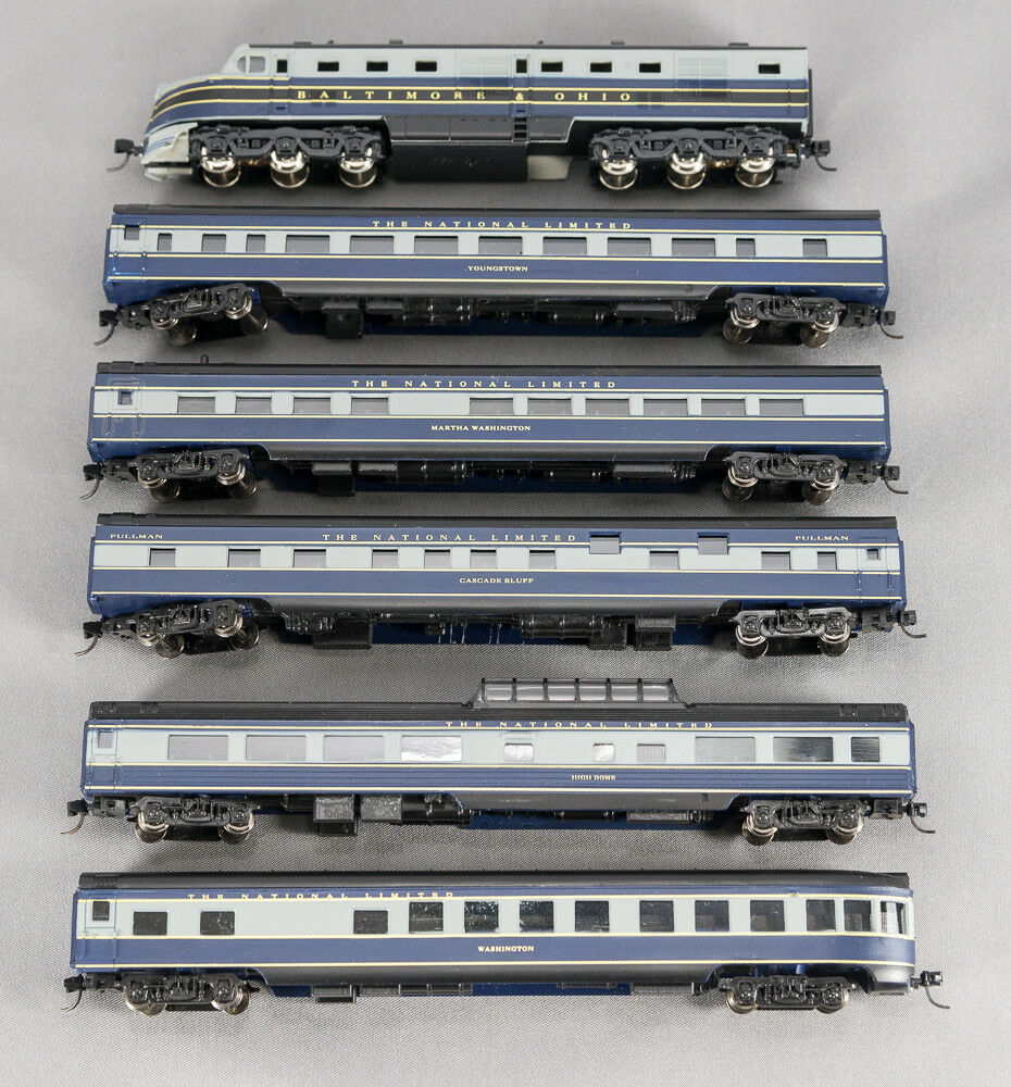 N DL-109 DUMMY 6 CAR SET SMOOTHSIDE BALTIMORE & OHIO  NATIONAL LIMITED 1-08516S