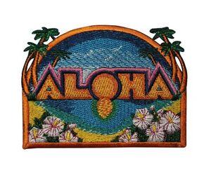 Aloha patch beach hawaii tropical vacation embroidered iron on