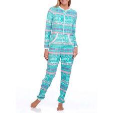 Jump suit pajamas micro fleece Union Suit 2X/2XG women adult sleepwear Be Happy