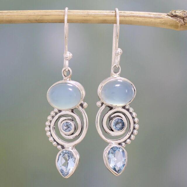 Jewelry 925 Silver Earrings Women Sea Blue Vintage Topaz Dangle Drop Christmas