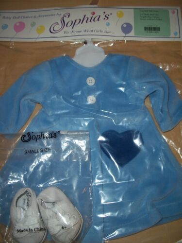 "15"" Sophia's Baby Doll Light Blue Velour Dress With Heart Pocket & White Shoes"
