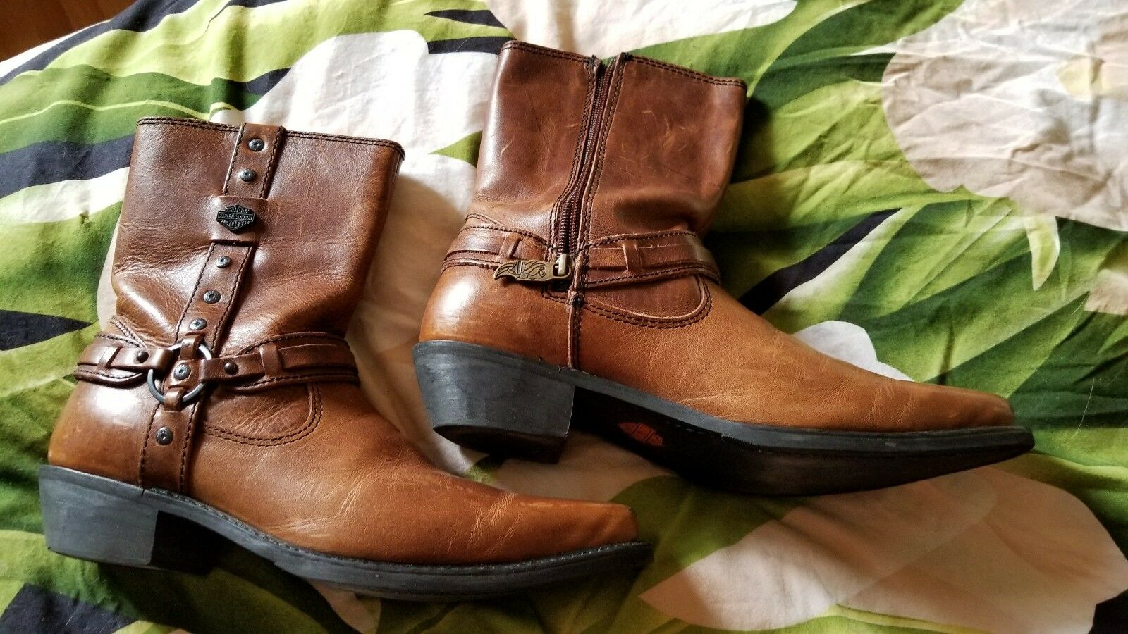 Harley Davidson men's size 9 brown leather boots motorcycle cowboy  biker gc
