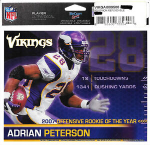 ADRIAN PETERSON MINNESOTA VIKINGS OFFENSIVE ROOKIE OF THE YEAR DECAL