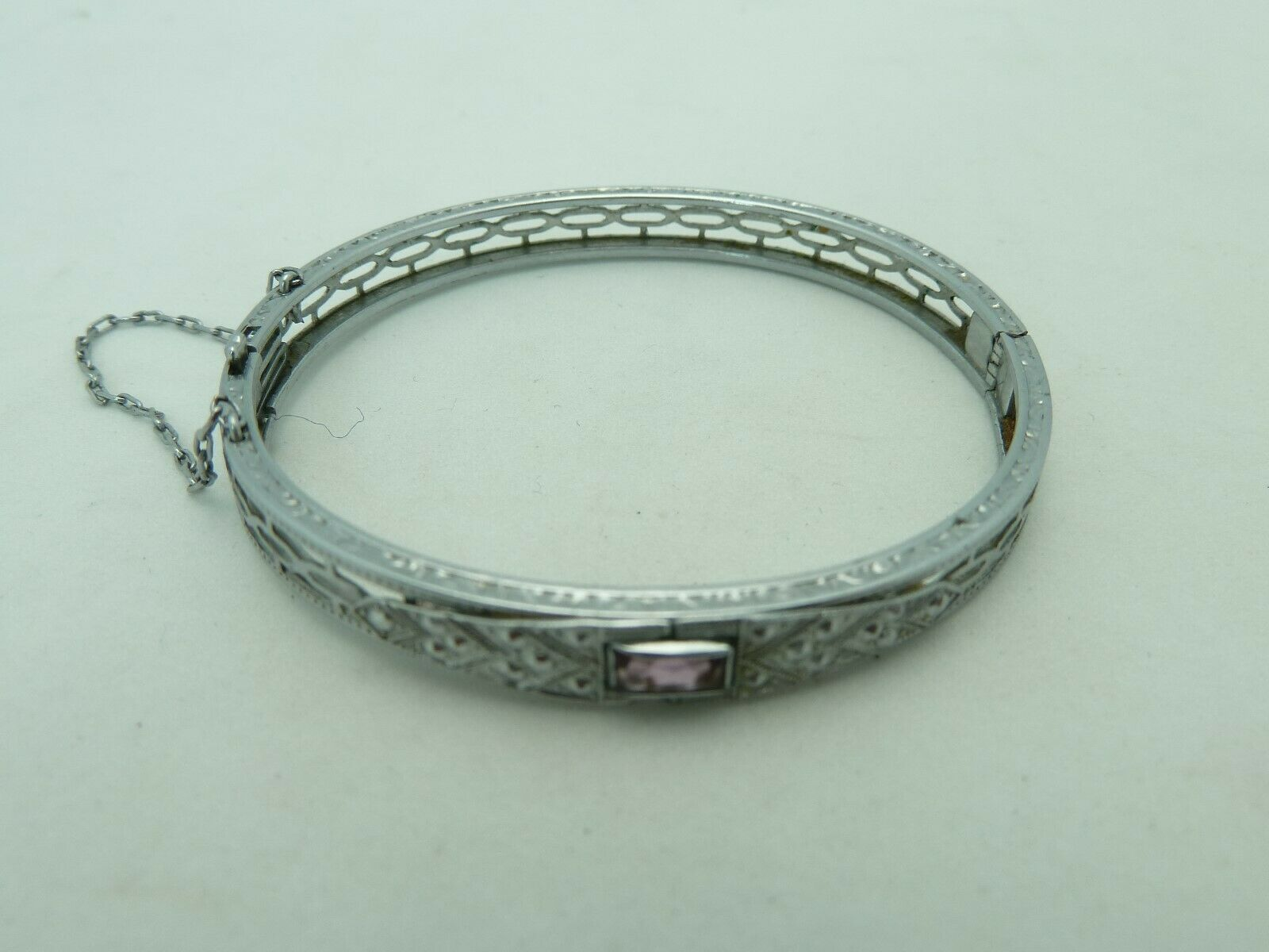 D2 Vintage Art Deco R and G Co NuWite Childs Filigree Metal Bracelet with Rosy Deep Pink Cut Glass Stone Saftey Chain Needs to be Repaired