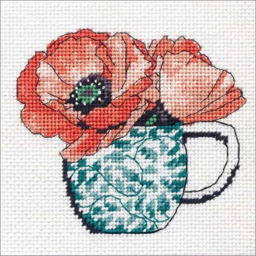 "Dimensions Needlepoint Kit 5/""X5/"" Floral Teacup Stitched In Thread 088677072476"