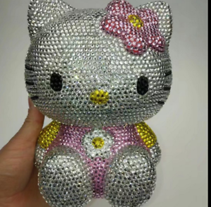 Worldwide Shipping*   Hello Kitty Piggy Bank Handmade Crystal Shining 1pc