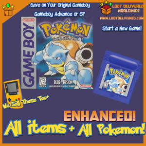 Pokemon Blue, Game Boy, Enhanced, all 151 Original Pokemon Living Pokedex