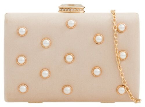 Fashionable Compact Faux Suede Clutch Bag Bedded Pearls Evening Party Luxury
