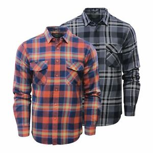 Mens Check Shirt Crosshatch arizonica Flannel Brushed Cotton Long Manche