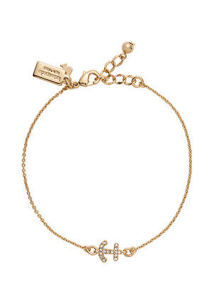 Anchor Solitaire Gold Tone Bracelet