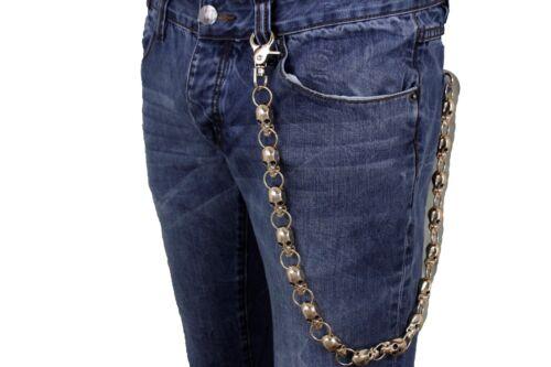 Men Wallet Chain Rocker Strong Gold Metal Long Skeleton Chunky Skull Bones Biker