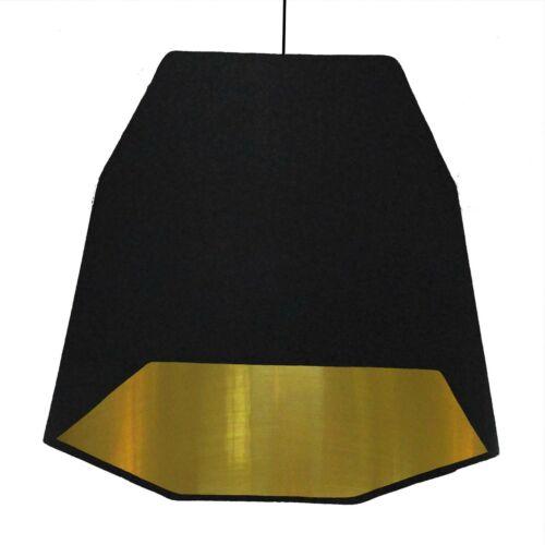 Hexagon Lampshade Black Cotton Geometric Metallic Lining Copper Silver Gold