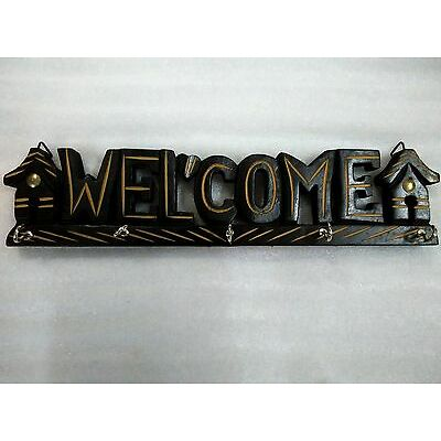 Wooden Handcrafted Welcome Key Holder Hanger Stand Home Decorative Gift Item