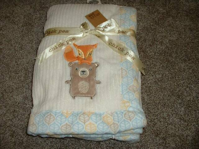 Baby Blanket Infant Boys Chick Pea Boutique Soft Forest Fox Bear 0-3 3-6 NWT NEW