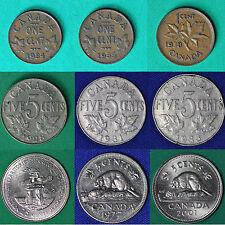 Canada, 1 Cent 1934, 35, 38, 5 cents 1928, 31, 33, 77, 2001, 25 cents 1992 NT UN