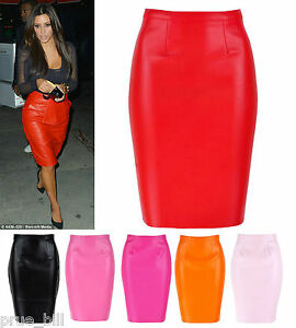 Red Leather Look Skirt