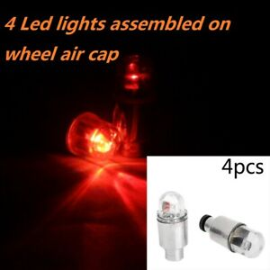 4x Red Valve Stem Car Wheel Tyre Tire Air LED Light Caps Dust Cover Accessory