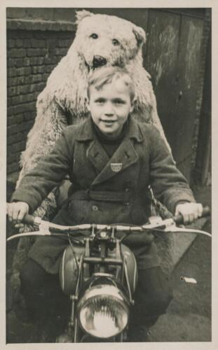 Boy /& Person in Polar Bear Costume on Motorcycle Old Photo