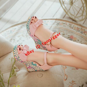 Korean Women Wedge Heel Floral Peep Toe Ankle Strap Sandals Bowtie Summer Shoes
