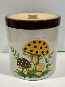 Vintage-Sears-Roebuck-Metal-Enamel-Canister-Mellow-Mushroom-w-Lid-6-25-034-Tall