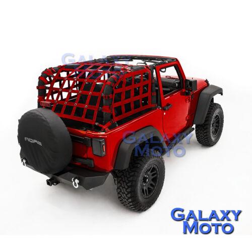 Off Road 2 Door RED Cargo Restraint Net System 4x4 for 07-17 Jeep Wrangler JK