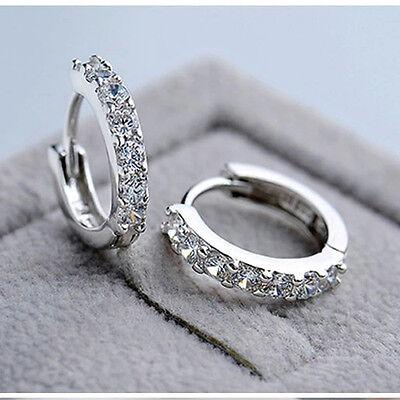 Brand Jewelry White Topaz Gemstones Silver Plated Hoop Earrings Gift