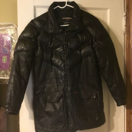 ORIG. GOOSE COUNTRY, MENS M, BLACK LEATHER, DOWN-F