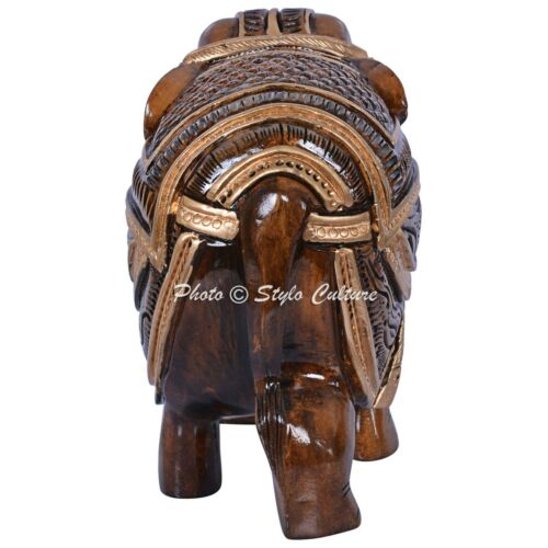 Indian Hand Carved Wooden Elephant Sculpture Hand Carved Painted Home Decor Gift