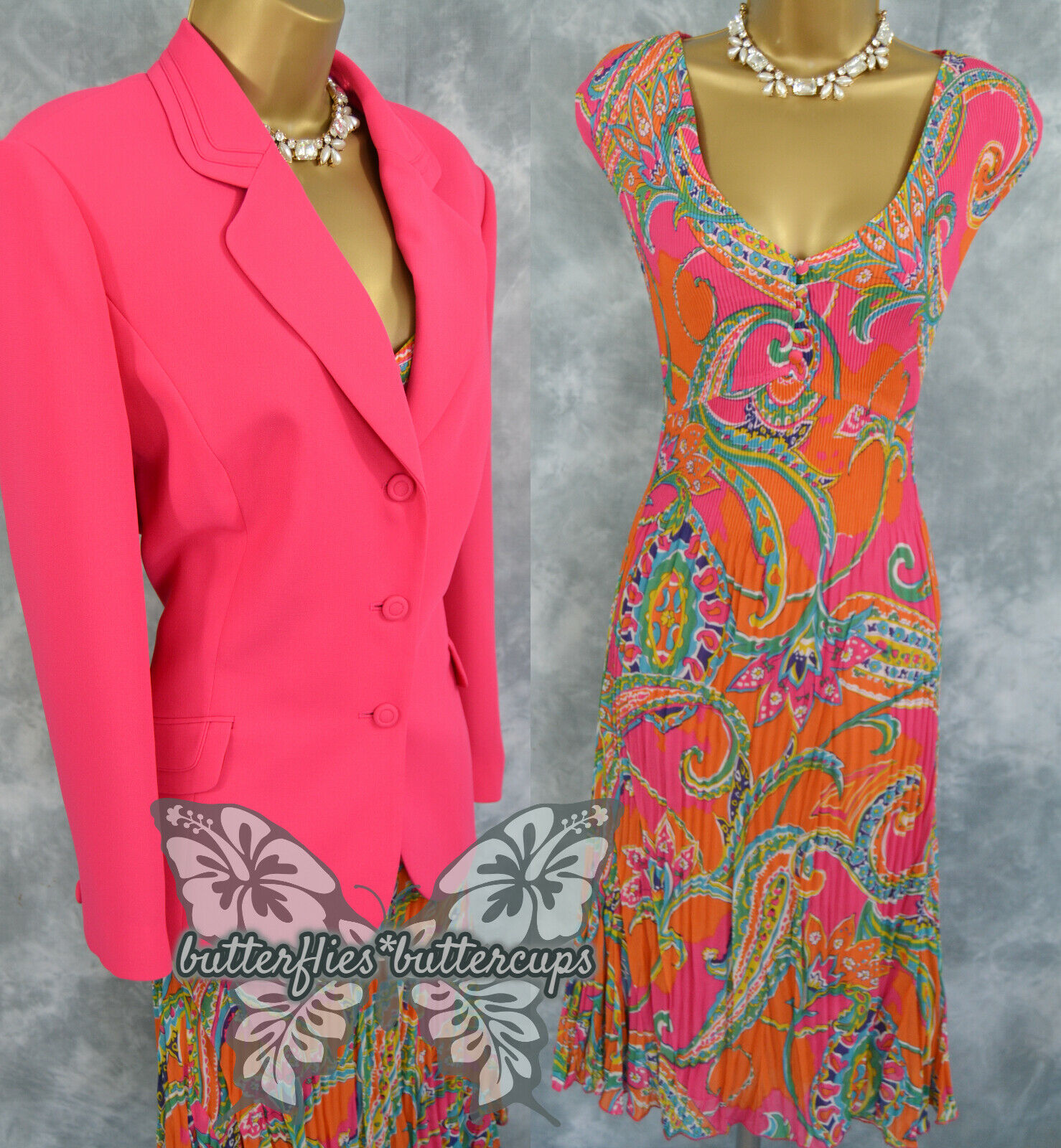 ~ JACQUES VERT & EAST~ Size 18 Pink Dress and Jacket Suit Mother of the Bride