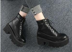 Womens-Punk-Ankle-Boots-Casual-Platform-Chunky-High-Heel-Lace-Up-Round-Toe-Shoes