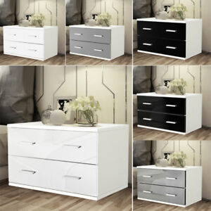 Low And Wide Bedside Cabinet Table 2 Drawer