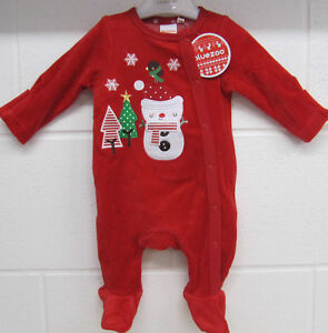 7db1becc7 Baby Boys Girls Long Sleeve red velour Baby Grow My First Christmas ...
