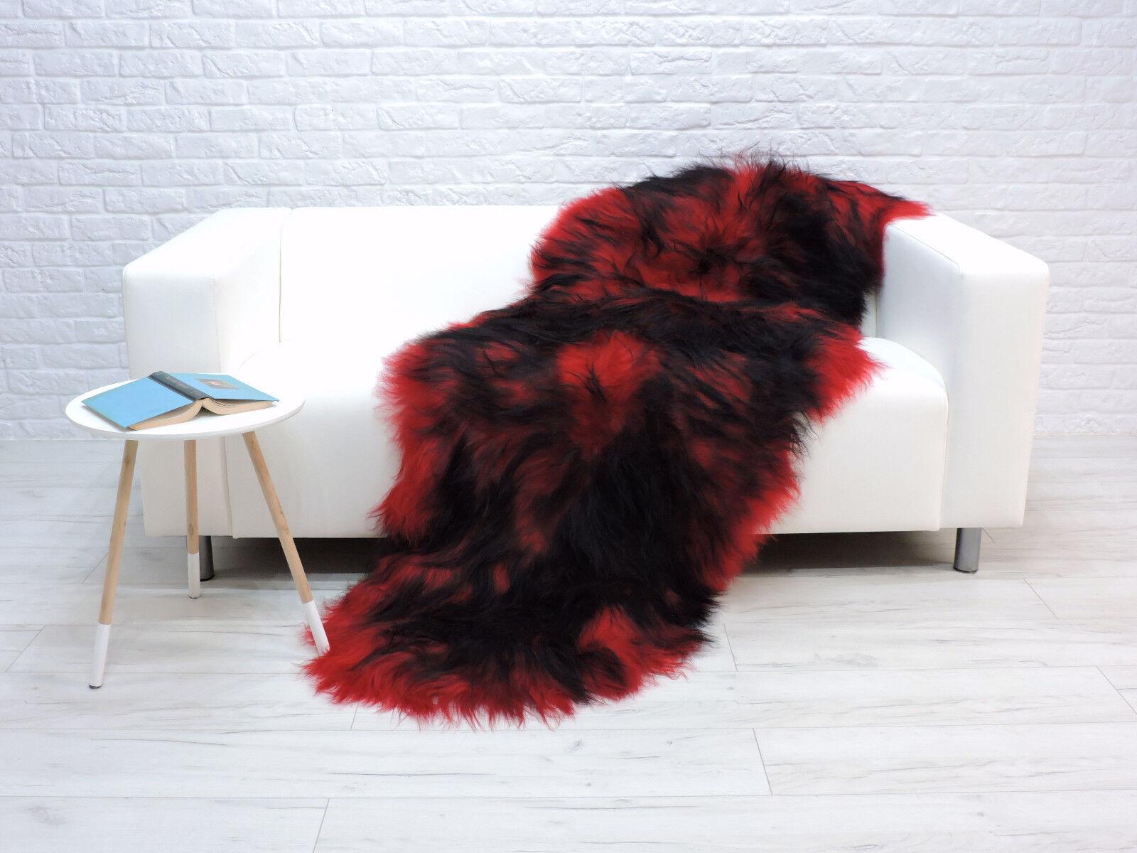 Belle Véritable Véritable Véritable Islandais Double Peau De Mouton Tapis Rouge teint noir Couleur-dépression récurrente Brève | Pour Votre Sélection  529b56
